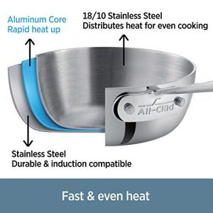 All-Clad D3 Stainless Cookware, 12-Inch Fry Pan with Lid, Tri-Ply Stainless Steel, Professional Grade, Silver, Model: 41126