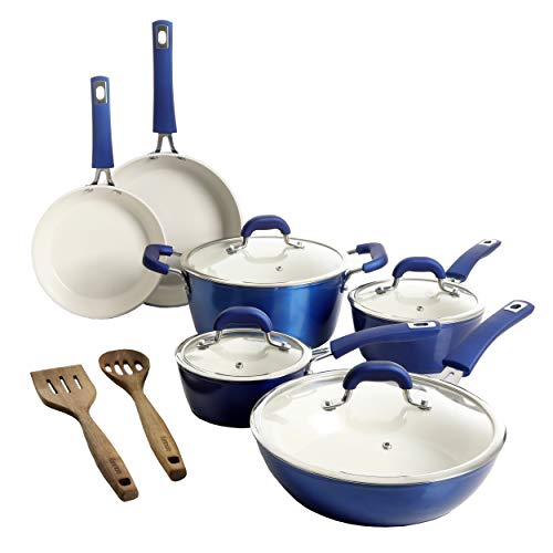 Kenmore Arlington Nonstick Ceramic Coated Forged Aluminum Induction Cookware with Bakelite Handles, 12-Piece Set, Metallic Blue